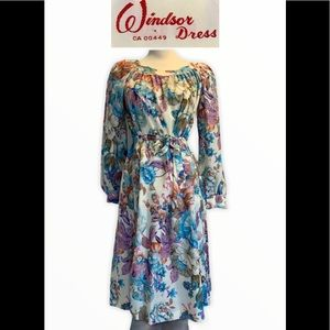 Windsor Vintage floral long sleeve dress size 10